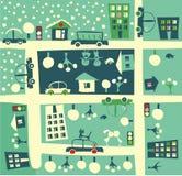 Ville en été et hiver dans le vecteur illustration de vecteur
