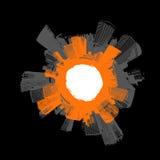 Ville en cercle avec l'orange. Image libre de droits