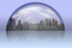Ville entourée dans la sphère en verre Image libre de droits