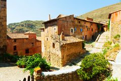 Ville espagnole de montagnes. Albarracin, Aragon Photos stock