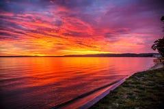 Ville est Michigan de traversée de lever de soleil de baie photos libres de droits