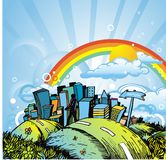 Ville et arc-en-ciel illustration stock