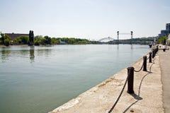 Ville et fleuve Don de Rostov-on-Don Image libre de droits
