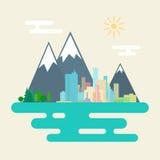 Ville et Forest Against Mountains Illustration Libre de Droits
