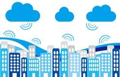 Ville et nuages Image stock