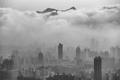 Ville et nuages, Hong Kong Photographie stock