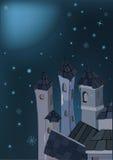 Ville et nuit de l'hiver Photographie stock
