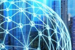 Ville et réseau bleus illustration libre de droits