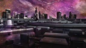 Ville et vaisseaux spatiaux futuristes illustration libre de droits