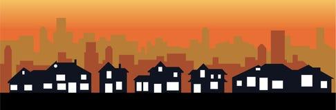 Ville et ville de coucher du soleil illustration de vecteur