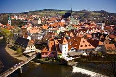 Ville européenne avec l'église Photo stock