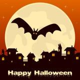 Ville fantôme de Halloween et pleine lune Photographie stock