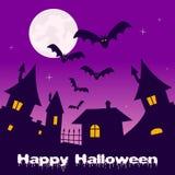Ville fantôme de Halloween, pleine lune et battes Photographie stock