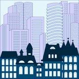 Ville fond moderne et vieux de bâtiment barre Image libre de droits