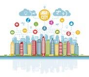 Ville futée avec des services intelligents avancés, et réalité augmentée, réseaux sociaux, Internet des choses, icônes illustration stock