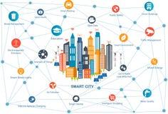 Ville futée et réseau de transmission sans fil illustration stock