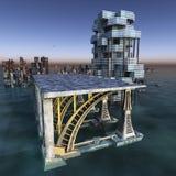 Ville futuriste avec le rendu moderne du gratte-ciel 3D illustration de vecteur