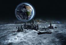 Ville futuriste, base, ville sur la lune La vue de l'espace de la terre de planète expédition rendu 3d Photo libre de droits