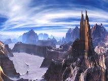 Ville futuriste construite sur des dessus de falaise sur le monde étranger illustration libre de droits