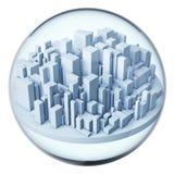 Ville futuriste dans la bille en verre Photographie stock libre de droits