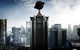 Ville futuriste de bâtiment illustration de vecteur