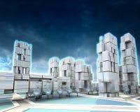 Ville futuriste de gratte-ciel avec le coucher du soleil nuageux de l'hiver illustration stock