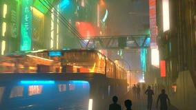 Ville futuriste de Sci fi la nuit avec la circulation urbaine et l'illustration aériennes des peuples 3d Photo stock