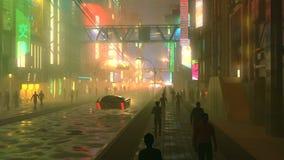 Ville futuriste de Sci fi la nuit avec la circulation urbaine et l'illustration aériennes des peuples 3d Photos libres de droits