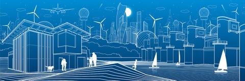 Ville futuriste Durée urbaine Infrastructure de ville Illustration industrielle Barrage de rivière Centrale hydroélectrique March illustration libre de droits