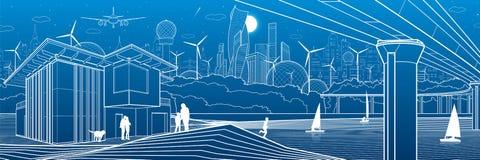 Ville futuriste Durée urbaine Infrastructure de ville Illustration industrielle Grande passerelle Les gens sur la berge Maisons m illustration libre de droits