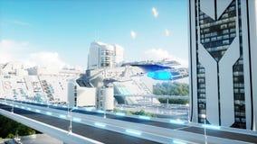 Ville futuriste, ville Le concept de l'avenir Silhouette d'homme se recroquevillant d'affaires rendu 3d Photos stock