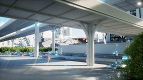 Ville futuriste, ville Le concept de l'avenir Silhouette d'homme se recroquevillant d'affaires rendu 3d Images stock