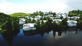 Ville futuriste, village Le concept de l'avenir Silhouette d'homme se recroquevillant d'affaires rendu 3d Photo libre de droits