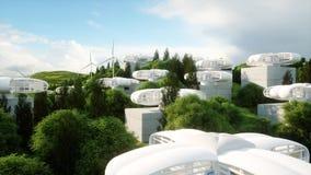 Ville futuriste, village Le concept de l'avenir Silhouette d'homme se recroquevillant d'affaires rendu 3d Photos libres de droits