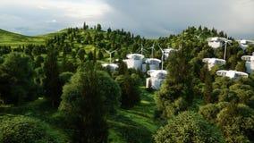 Ville futuriste, village Le concept de l'avenir Silhouette d'homme se recroquevillant d'affaires rendu 3d Photo stock