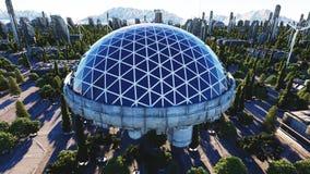 Ville futuriste, ville Architecture de l'avenir Silhouette d'homme se recroquevillant d'affaires rendu 3d Photo stock