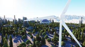 Ville futuriste, ville Architecture de l'avenir Silhouette d'homme se recroquevillant d'affaires rendu 3d illustration de vecteur