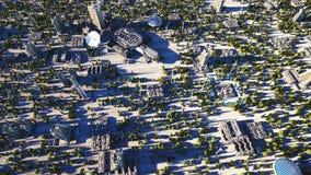 Ville futuriste, ville Architecture de l'avenir Silhouette d'homme se recroquevillant d'affaires rendu 3d Photos stock