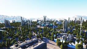 Ville futuriste, ville Architecture de l'avenir Silhouette d'homme se recroquevillant d'affaires rendu 3d Photographie stock libre de droits