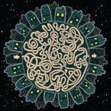 Ville globale au jeu de labyrinthe de nuit Images libres de droits