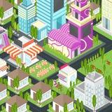 Ville graphique établissant l'architecture de maison et de paysage urbain d'immobiliers Photos libres de droits