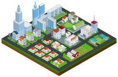 Ville graphique établissant l'architecture de maison et de paysage urbain d'immobiliers Image stock
