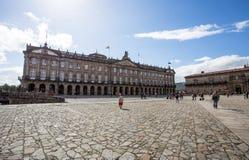 Ville hôtel de place d'Obradoiro en Santiago de Compostela, Galicie, Espagne photographie stock