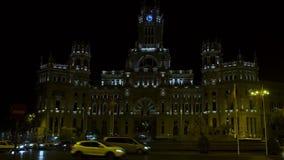 Ville Hall Cybele Palace, vue de Madrid, Espagne de nuit de Palacio de Cibeles banque de vidéos