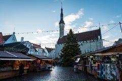 Ville Hall Square à Tallinn Photos stock