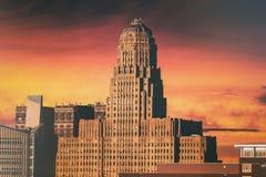 Ville Hall Sunset de Buffalo Photographie stock libre de droits