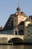 ville historique allemande de Ratisbonne de constructions Image libre de droits