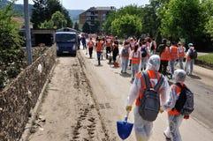 Ville inondée de Bosnie-Herzégovine Maglaj c Photos libres de droits