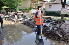 Ville inondée de Bosnie-Herzégovine Ville de Maglaj Image libre de droits