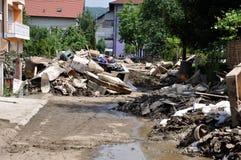 Ville inondée de Bosnie-Herzégovine Ville de Maglaj Photos libres de droits